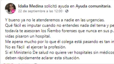 """Presunta negligencia médica: """"Ya no atenderemos a nadie en las urgencias"""", amenazó doctora"""