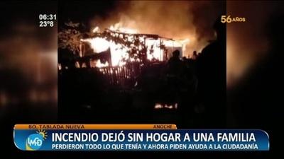 Incendio dejó sin hogar a toda una familia en Tablada Nueva
