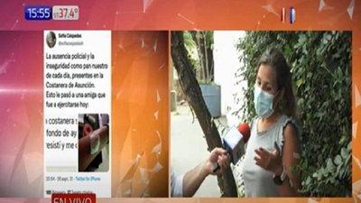Mujer fue asaltada con una botella de vidrio en la Costanera Norte