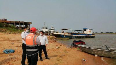 Verifican trabajos de dragado del río Paraguay en Villeta