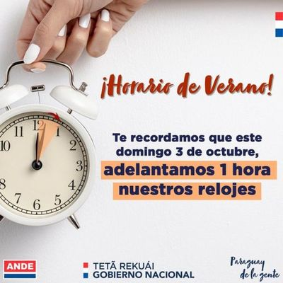 A no olvidarse: hora oficial de Paraguay se adelanta 60 minutos desde esta medianoche