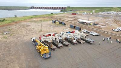 Arriba a zona de obras los componentes de las turbinas para la Central Aña Cuá