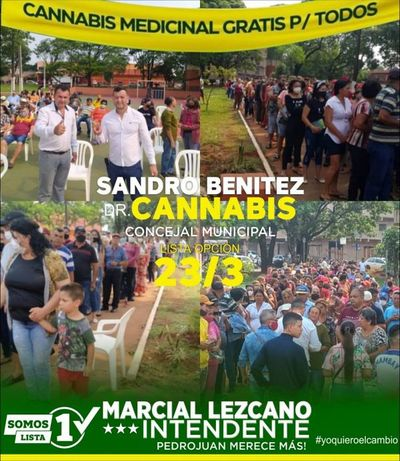 Fenómeno social y Político, Sandro Sánchez y Marcial Lezcano aglutinan unas 1.000 personas en una plaza y en sólo un día fueron inscriptas más de 800 personas en el Programa Mi Primer Terreno y distribuyeron aceite y pomada de canabis