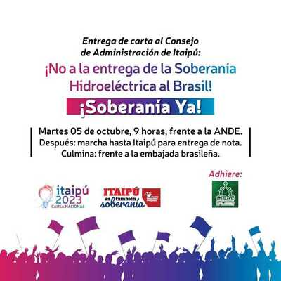 """Organizaciones presentarán nota de """"preocupación por la soberanía de Itaipú"""""""