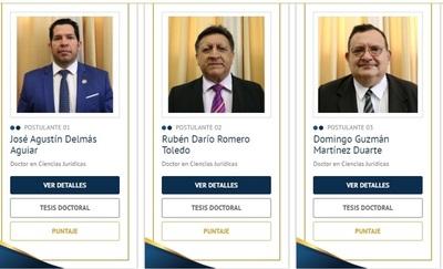 Consejo de la Magistratura publica puntajes preliminares de candidatos a ministro de la Corte