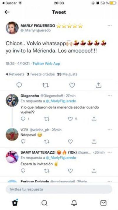 """Marly Figueredo y su chiste sobre una """"merienda"""""""