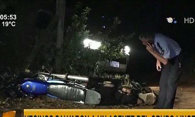 Vecinos salvaron a un agente del Grupo Lince en Areguá