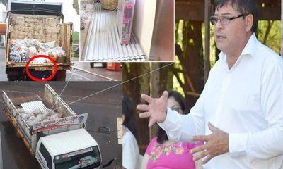 Digno Caballero hace campaña víveres, chapas y cochones donados por SEN