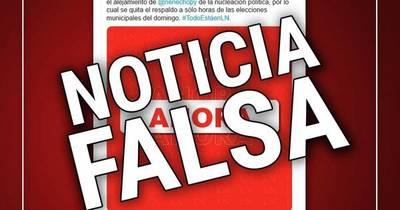 La Nación / Grupo Nación desmiente noticia falsa sobre retiro de apoyo de Horacio Cartes a Nenecho Rodríguez