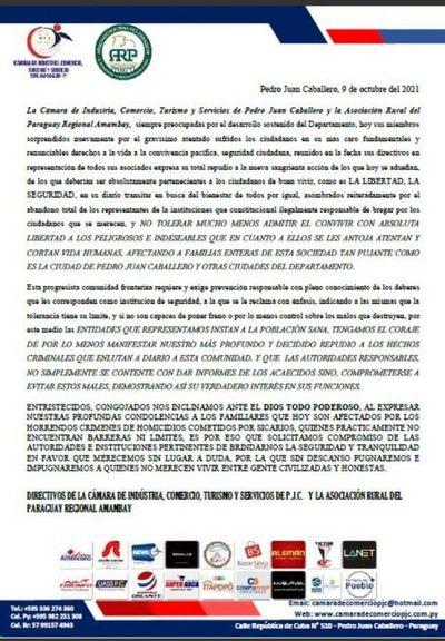 Comunicado de la Cámara de Comercio y Regional Amambay de la ARP