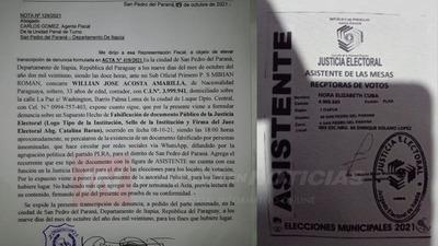 EL TSJE PRESENTA DENUNCIA POR FALSIFICACIÓN DE DOCUMENTOS EN SAN PEDRO DEL PNA.