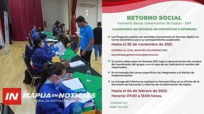 RETORNO SOCIAL DE BECARIOS DE LA GOBERNACIÓN