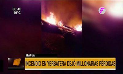 Incendio en yerbatera dejó millonarias pérdidas en Itapúa