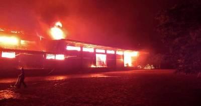 La Nación / Incendio consumió depósito de yerbatera de la cooperativa Colonias Unidas