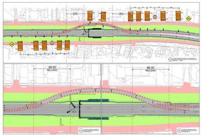 Realizan cortes y desvíos en zona urbana de Caaguazú para instalación de pasarelas
