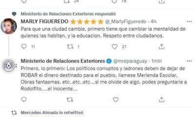 Ministerio de Relaciones Exteriores abre sumario por respuesta a Marly Figueredo