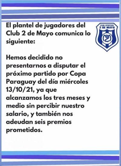 Plantel del 2 de Mayo anuncia que no jugará Copa Paraguay