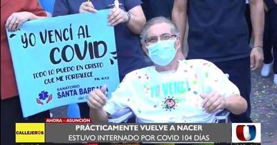 Emotivo alta médica a hombre que estuvo 104 días internado por Covid