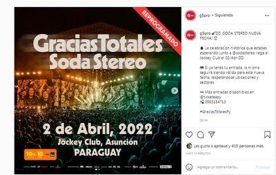 Reprograman concierto de Soda Stereo en nuestro país