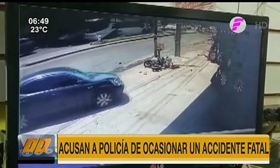 Acusan a policía de ocasionar un accidente de tránsito