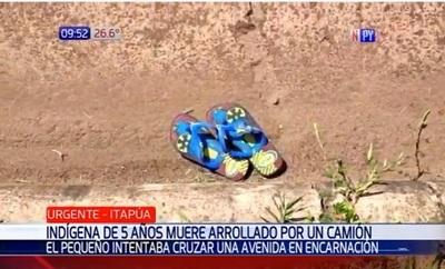 Niño indígena muere arrollado por camión en Encarnación