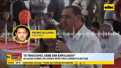 """Si Zacarías Irún traicionó, debe ser expulsado del partido"", afirma Pedro Alliana"