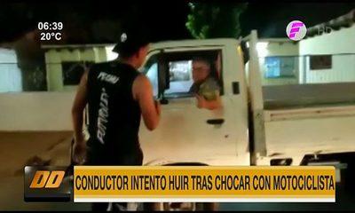 Conductor intentó huir tras chocar con motociclista
