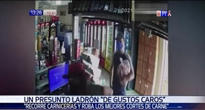 Hombre escapa con kilos de carne de comercio en Oviedo