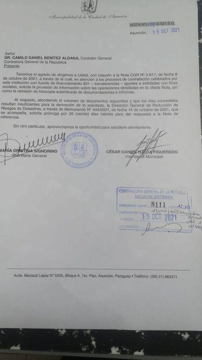 Municipalidad de Asunción responde solo en parte al pedido de la Contraloría y pide prórroga