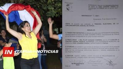 PROCLAMAN A DEL PILAR VÁZQUEZ INTENDENTE DE JOSÉ L. OVIEDO