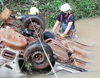 ¡Se salvó de milagros! Automovilista cae a un arroyo en el Departamento de Itapúa