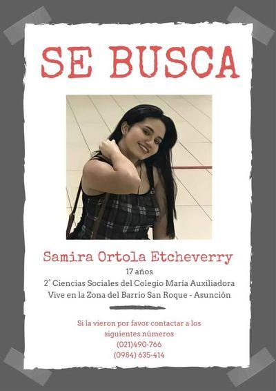 Buscan a adolescente desaparecida en barrio San Roque de Asunción