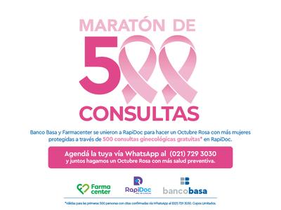 Banco Basa, Farmacenter y RapiDoc realizan iniciativa por Octubre Rosa