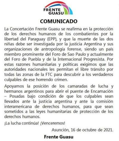 Atribuyen al Frente Guazú comunicado a favor del  EPP
