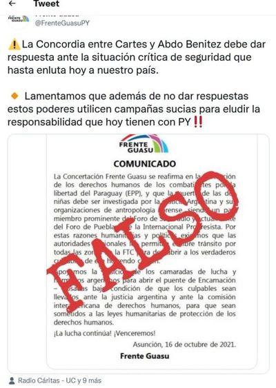 Frente Guazú niega autoría de comunicado y acusa a Cartes y a Abdo Benítez