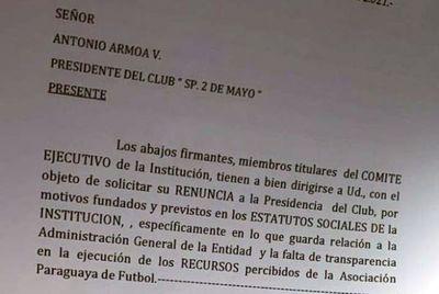 Sp. 2 de Mayo en crisis: Piden renuncia del presidente Antonio Armoa