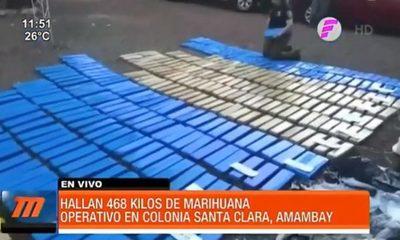 Hallan 468 kilos de marihuana en Amambay