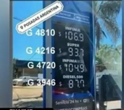 Combustibles cuestan casi un 50% menos en Argentina