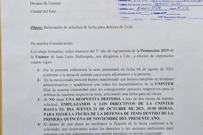Alumnos de Agronomía de Uninter Mallorquín emplazan a que fijen fecha para defensa de tesis – Diario TNPRESS
