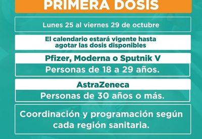 Avanzará vacunación con primera dosis desde el lunes 25 de octubre