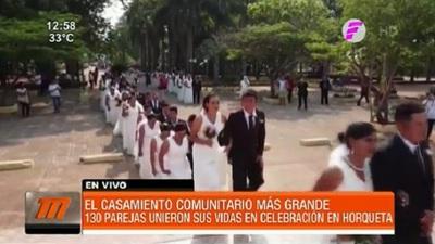 130 parejas se casaron en parroquia de Horqueta