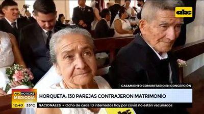 130 parejas contrajeron matrimonio en boda comunitaria en Horqueta